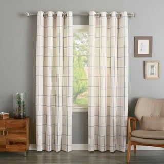 Geometric Grid Printed Linen Blend Grommet Curtain Panel Pair
