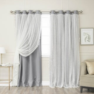Lights Out Dotted Lace Overlay Thermal Insulated Blackout Grommet Top Curtain Panel Pair
