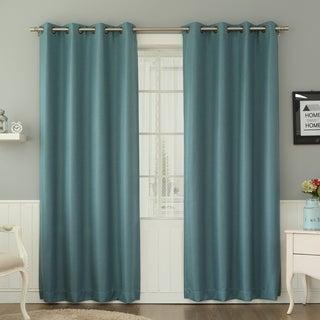 Basketweave Linen Look Room Darkening Blackout Grommet Curtain Pair