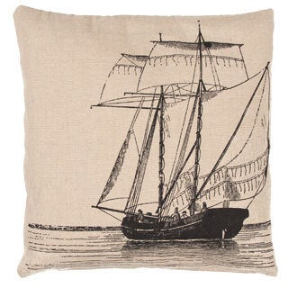 Handmade Coastal 20-inch Ivory/ Black Throw Pillow