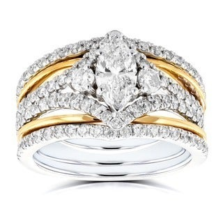 Annello 14k Two Tone Gold 1 2/5ct TDW Marquise Diamond Rings 3-Piece Art Deco Bridal Set (H-I, I1-I2