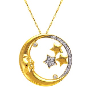 Beverly Hills Charm 14k Yellow Gold 1/6ct TDW Diamond Moon and Stars Necklace (H-I, I2-I3)