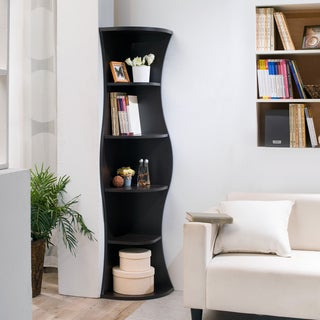 Furniture of America Collins Contemporary Curvy Walnut Corner Bookcase
