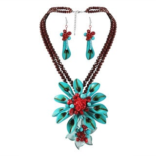 Dazzling Calla Lilies Turquoise Statement Jewelry Set (Thailand)
