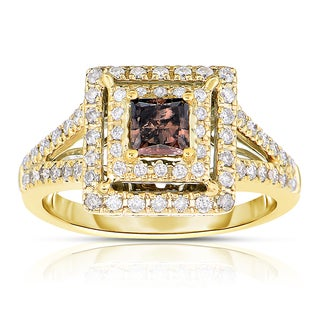 Eloquence 14k Yellow Gold 1ct TDW Cognac Double Halo Diamond Engagement Ring (H-I, I1-I2)