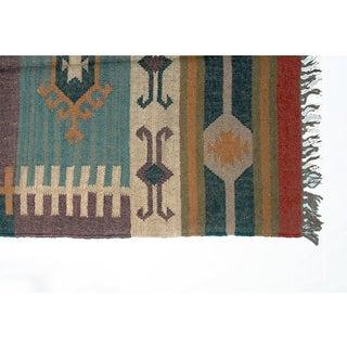 Timbergirl Indo Purple/Beige Wool Jute Kilim Area Rug (3' x 5')