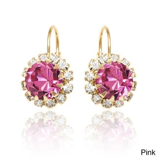 18k Goldplated Crystal Flower Leverback Earrings