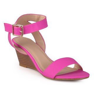 Journee Collection Women's 'Narcissus' Open Toe Ankle Strap Wedges