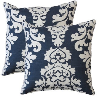 Premiere Home Damask Navy 17-inch Throw Pillow - Set of 2