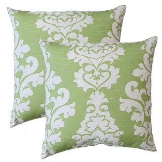 Premiere Home Damask Kiwi 17-inch Throw Pillow - Set of 2