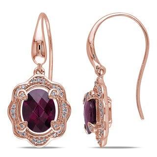 Miadora 14k Rose Gold Rhodolite and 1/5ct TDW Diamond Dangle Earrings (G-H, SI1-SI2)