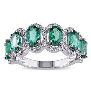 Miadora 14k White Gold Emerald and 2/5ct TDW Diamond Anniversary Ring (G-H, SI1-SI2)