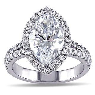 Miadora 18k White Gold 3 3/4ct TDW Marquise Diamond Halo Engagement Ring (D, SI2) (GIA)