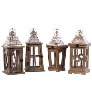 Wood Square Lantern with Silver Pierced Metal Top and Stained Wood Finish (Set of 4)