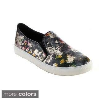 Reneeze OMA-02 Women's Slip-on Elastic Floral-Printed Sneakers