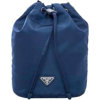 Prada Nylon Vela Navy Drawstring-top Cosmetic Pouch