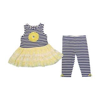 Mia Juliana Girls' Stripe Knit Legging Set with Lace Skirt