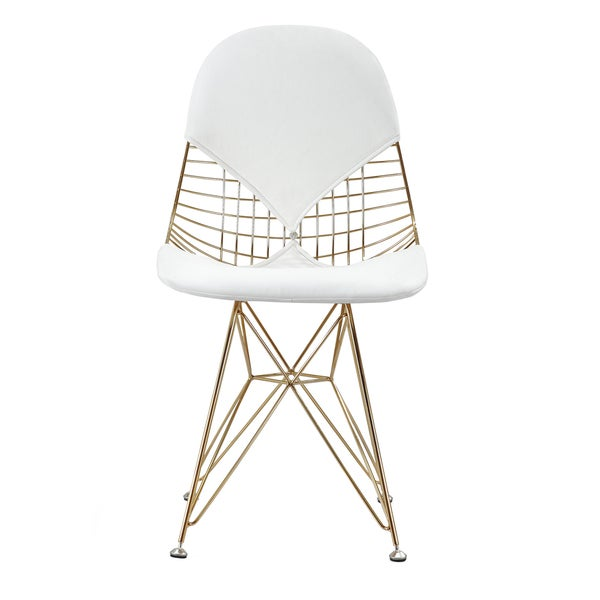 GLAM Eiffel Chair In Gold and White Vegan Leather Set