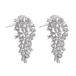 NEXTE Jewelry Silvertone Tapered Baguette Cubic Zirconia Leaf Earrings