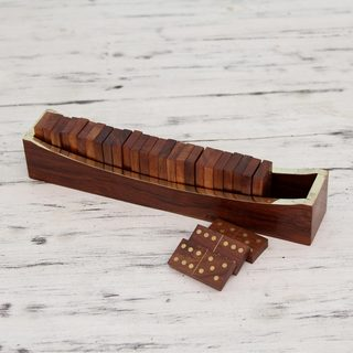 Handcrafted Seesham Brass Wood 'Competition' Dominoes (India)
