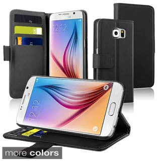 Insten Plain Leather Wallet Flap Pouch Phone Case Cover with Stand For Samsung Galaxy S6