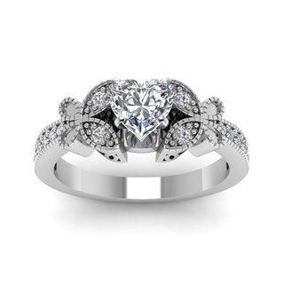 14k White Gold 3/4ct TDW Heart Diamond Flywheel Milgrain Engagement Ring (G-H, SI1-SI2)