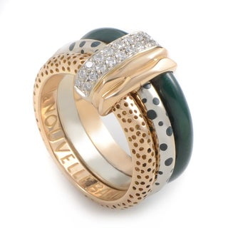 Nouvelle Bague 18k Two-tone Gold 2/5ct TDW Diamond and Enamel Estate Ring (G-H, SI1-SI2) (Size 10.5)