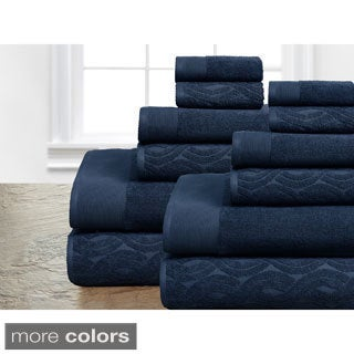 Egyptian Cotton 12-piece Jacquard/ Solid Towel Set