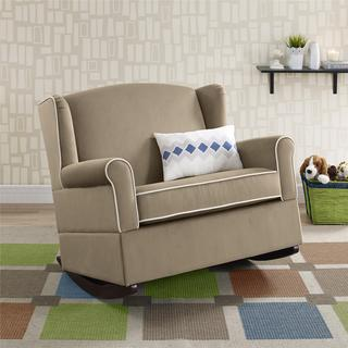 Baby Relax Lainey Taupe Wingback Chair-and-a-half Rocker