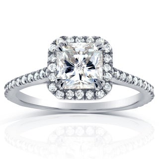 Annello 14k White Gold 1 1/3ct TDW Radiant Diamond Halo Engagement Ring (H-I, I1-I2)