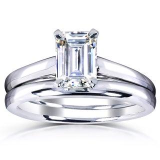 Annello 14k White Gold 1ct Solitaire VG Emerald Moissanite Bridal Set
