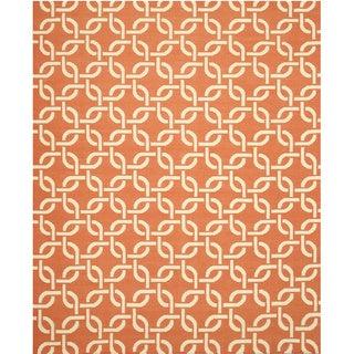 TLNK1OR Orange Handmade Wool Links Dhurrie Rug, (8'9 x 11'9)