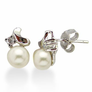 Kabella Sterling Silver White Freshwater Pearl and Cubic Zirconia Earrings (6-6.5 mm)