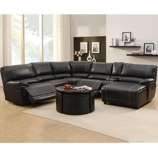 Flynn Black Bonded Leather Reclining Sectional Sofa With Console And Chaise