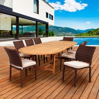 Amazonia Teak Maggiore 9-piece Teak/ Wicker Double Extendable Oval Patio Dining Set with Off-white Cushions