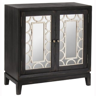 Hand Painted Distressed Worn Black Finish Mirrored Accent Chest