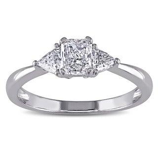 Miadora 14k White Gold 3/4ct TDW Diamond 3-Stone Engagement Ring (G-H, VSI1-VSI2)