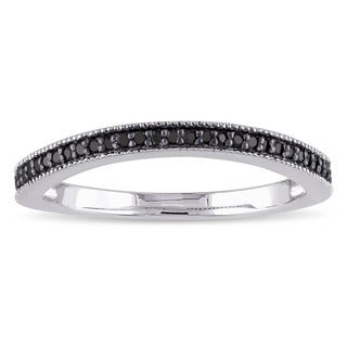 Haylee Jewels Sterling Silver 1/6ct TDW Black Diamond Wedding Band