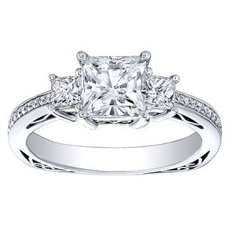 18K White Gold 3/4ct TDW Princess-cut CZ and Diamond Three-stone Engagement Ring (H-I, I1-I2)
