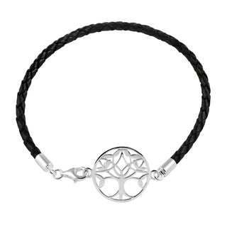 Sterling Silver and Leather Tree of Life Bracelet