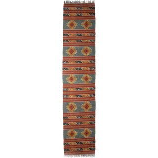 Timbergirl Indo Red/Orange Wool Jute Kilim Area Rug (2' x 8')