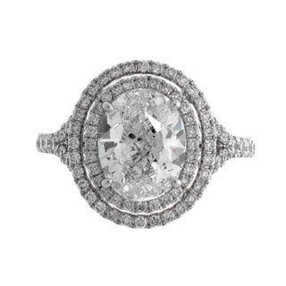 14k White Gold 3 7/8ct TDW Oval Certified Diamond Double Halo Engagement Ring (G-H, SI1-SI2) (Size 6.5)