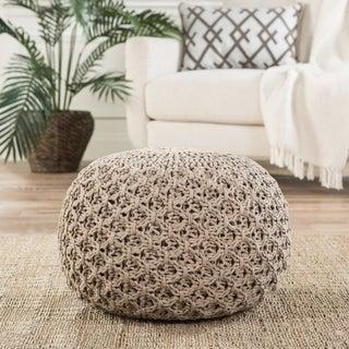 Handmade Pattern Cotton Tan 20x20 Pouf