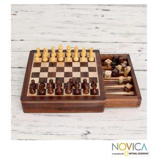 Seesham Wood 'Path of Challenge' Chess Backgammon Set (India)
