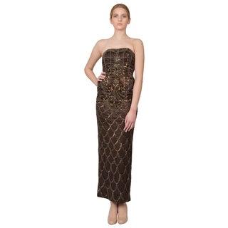 Sue Wong Brown Deco Embellished Strapless Column Evening Dress
