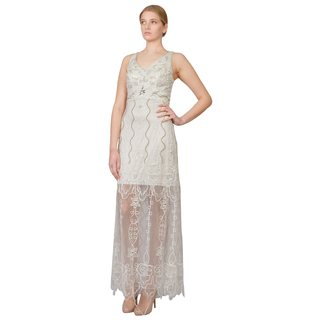 Sue Wong Ivory Sheer Beaded Overlay V-neck Evening Dress