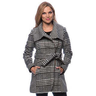 Jessica Simpson Women's Asymmetrical Zip Plaid and Houndstooth Wool Coat