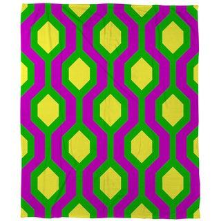 Thumbprintz Neon Party Honeycomb Pattern Coral Fleece Throw