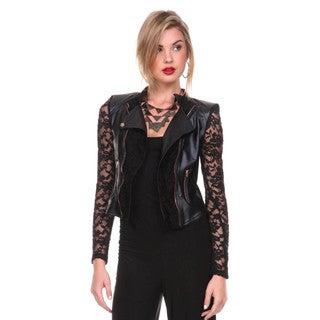 Stanzino Women's Long Sleeve Lace Biker Jacket