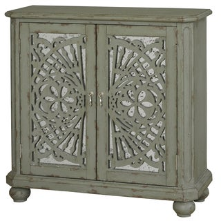 Hand Painted Heavily Distressed Washed Green Mirrored Accent Chest